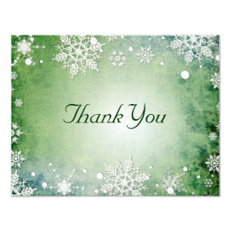 Wintery Green Thank You Card
