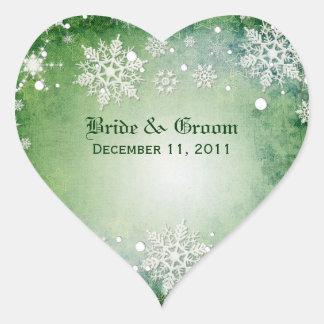 Wintery Green Wedding Stickers