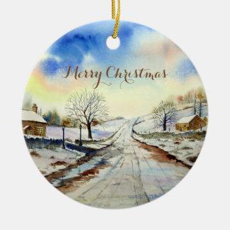 Wintery Lane Landscape Painting Ceramic Ornament