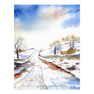 Wintery Lane Watercolor Landscape Painting Letterhead