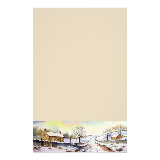 Wintery Lane Watercolor Landscape Painting Stationery