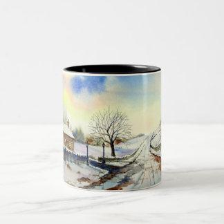 Wintery Lane Watercolor Landscape Painting Two-Tone Coffee Mug