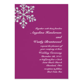 Wintery Magenta Wedding Invitation