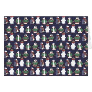 Wintery Penguins Card, Customisable! Card