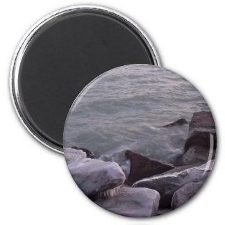Wintery Rocks 2 Inch Round Magnet