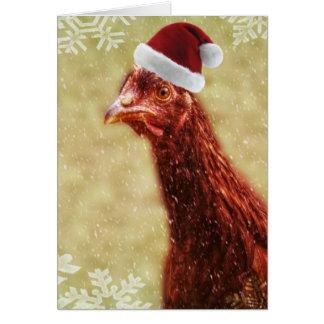Wintery Snowflake Santa Hat Chicken Card