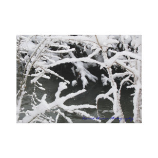 Wintery Stream Wrapped Canvas