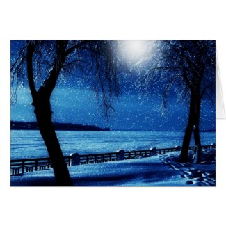 Wintry Christmas Moonlight Card
