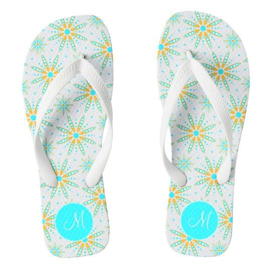 wintry cool turquoise snowflakes monogrammed flip flops