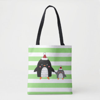 Wintry Penguins Tote Bag
