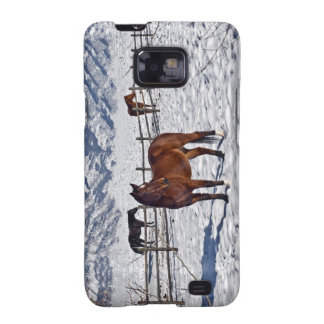 Wintry scenic with horses in Bozeman, Montana. Samsung Galaxy SII Covers
