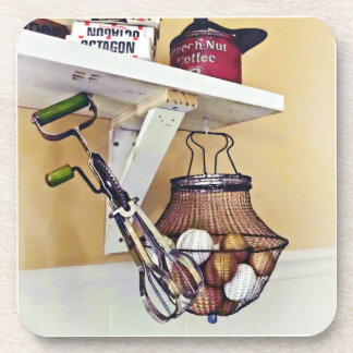 Wire Basket Of Eggs And Egg Beater Coaster