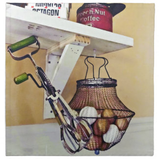 Wire Basket Of Eggs And Egg Beater Napkin