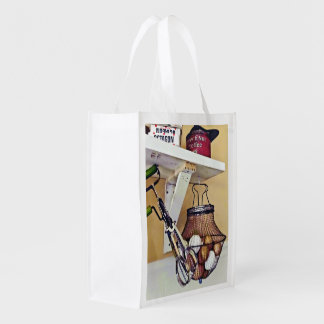 Wire Basket Of Eggs And Egg Beater Reusable Grocery Bag