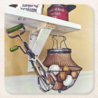Wire Basket Of Eggs And Egg Beater Square Paper Coaster