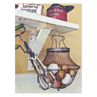 Wire Basket Of Eggs And Egg Beater Tablecloth