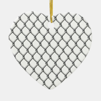 Wire fence seamless tile ceramic heart ornament