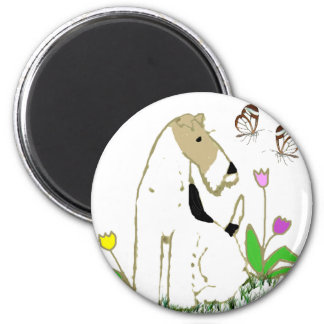 Wire Fox Terrier and Butterflies Magnet