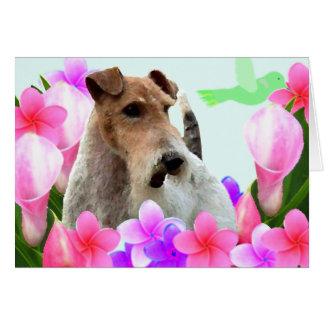 Wire Fox Terrier and Flowers Card