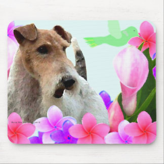 Wire Fox Terrier and Flowers Mouse Pad
