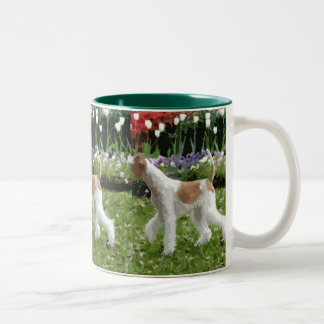 Wire Fox Terrier and Flowers Two-Tone Coffee Mug