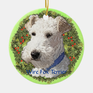 Wire Fox Terrier Art Ceramic Ornament