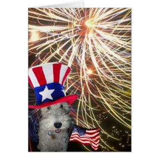 Wire Fox Terrier Celebrating Independence Day Card