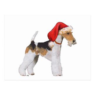 Wire Fox Terrier Christmas Postcard