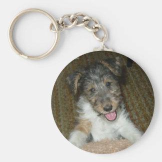 wire fox terrier cute pup basic round button keychain