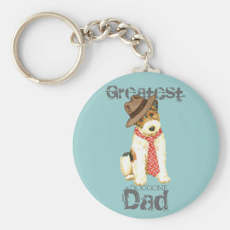 Wire Fox Terrier Dad Basic Round Button Keychain