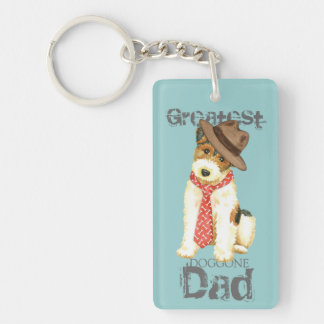 Wire Fox Terrier Dad Double-Sided Rectangular Acrylic Keychain