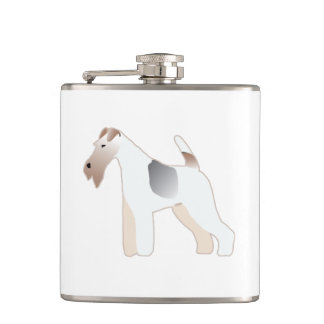 Wire Fox Terrier Dog Breed Illustration Silhouette Flask