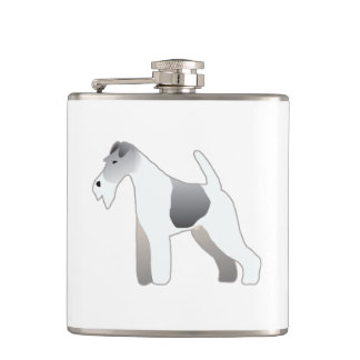 Wire Fox Terrier Dog Breed Illustration Silhouette Hip Flask