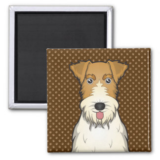 Wire Fox Terrier Dog Cartoon Paws Magnet