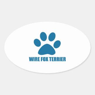 WIRE FOX TERRIER DOG DESIGNS OVAL STICKER