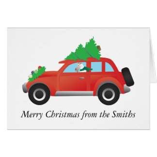 Wire Fox Terrier Dog Driving Christmas Car Card