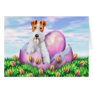 Wire Fox Terrier Easter Card