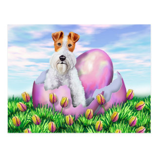 Wire Fox Terrier Easter Postcard