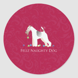 Wire Fox Terrier Feliz Naughty Dog Christmas Classic Round Sticker