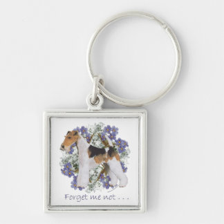 Wire Fox Terrier Forget-Me-Not Keychain