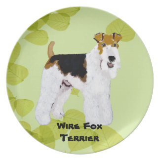 Wire Fox Terrier - Green Leaves Design Plates