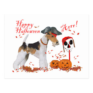 Wire Fox Terrier Halloween Postcard
