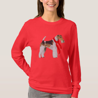 Wire Fox Terrier in a Scarf T-Shirt