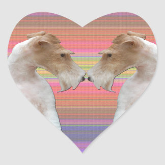 Wire Fox Terrier in Love Heart Sticker