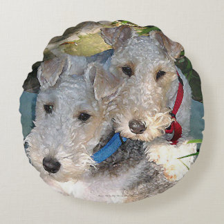 Wire Fox terrier Love Round Pillow