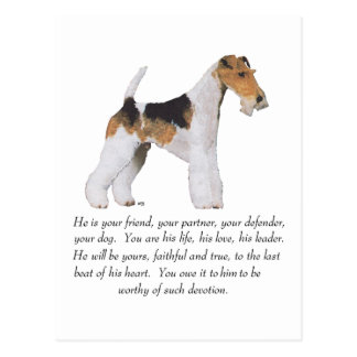 Wire Fox Terrier Memory / Dedication MALE Postcard