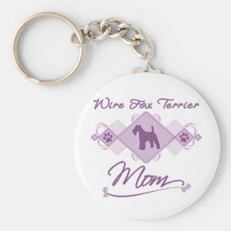 Wire Fox Terrier Mom Basic Round Button Keychain