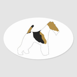 wire fox terrier oval sticker