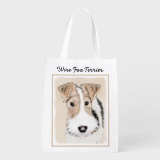 Wire Fox Terrier Painting - Cute Original Dog Art Reusable Grocery Bag