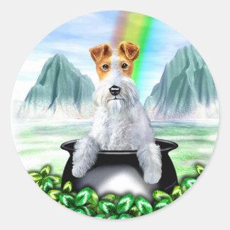 Wire Fox Terrier Pot O Gold Classic Round Sticker